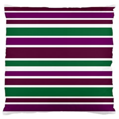 Purple Green Stripes Large Flano Cushion Case (Two Sides) by BrightVibesDesign