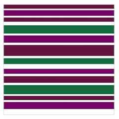 Purple Green Stripes Large Satin Scarf (Square) by BrightVibesDesign