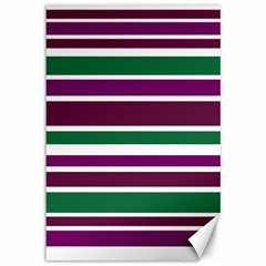 Purple Green Stripes Canvas 12  X 18   by BrightVibesDesign