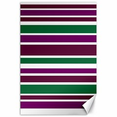 Purple Green Stripes Canvas 20  x 30   by BrightVibesDesign