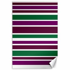 Purple Green Stripes Canvas 24  X 36  by BrightVibesDesign