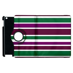 Purple Green Stripes Apple Ipad 3/4 Flip 360 Case by BrightVibesDesign