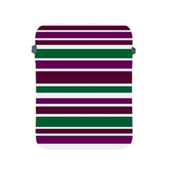 Purple Green Stripes Apple iPad 2/3/4 Protective Soft Cases by BrightVibesDesign