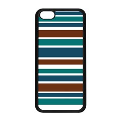 Teal Brown Stripes Apple Iphone 5c Seamless Case (black) by BrightVibesDesign
