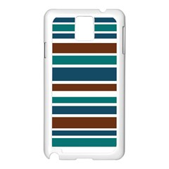 Teal Brown Stripes Samsung Galaxy Note 3 N9005 Case (White) by BrightVibesDesign