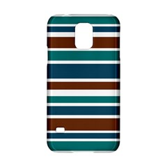 Teal Brown Stripes Samsung Galaxy S5 Hardshell Case  by BrightVibesDesign