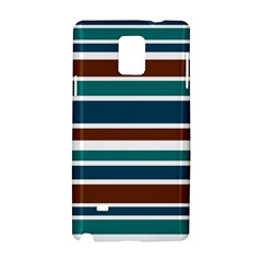Teal Brown Stripes Samsung Galaxy Note 4 Hardshell Case by BrightVibesDesign
