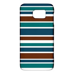 Teal Brown Stripes Galaxy S6 by BrightVibesDesign