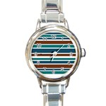 Teal Brown Stripes Round Italian Charm Watch Front