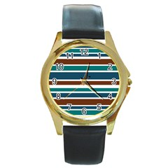 Teal Brown Stripes Round Gold Metal Watch by BrightVibesDesign