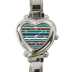 Teal Brown Stripes Heart Italian Charm Watch by BrightVibesDesign