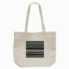 Teal Brown Stripes Tote Bag (cream) by BrightVibesDesign
