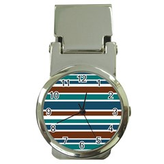 Teal Brown Stripes Money Clip Watches by BrightVibesDesign