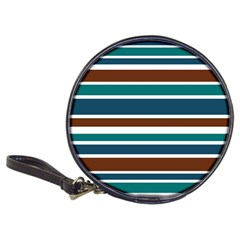 Teal Brown Stripes Classic 20 Cd Wallets by BrightVibesDesign