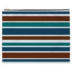 Teal Brown Stripes Cosmetic Bag (xxxl)  by BrightVibesDesign