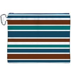 Teal Brown Stripes Canvas Cosmetic Bag (XXXL)  by BrightVibesDesign