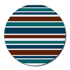 Teal Brown Stripes Round Mousepads by BrightVibesDesign