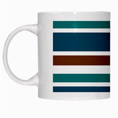 Teal Brown Stripes White Mugs by BrightVibesDesign