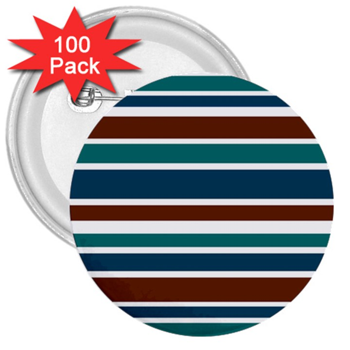 Teal Brown Stripes 3  Buttons (100 pack)