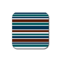 Teal Brown Stripes Rubber Square Coaster (4 pack)  by BrightVibesDesign