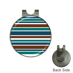 Teal Brown Stripes Hat Clips with Golf Markers by BrightVibesDesign