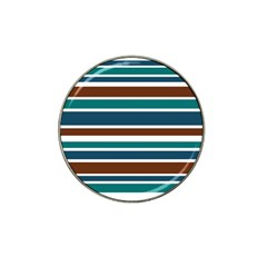 Teal Brown Stripes Hat Clip Ball Marker (10 Pack) by BrightVibesDesign