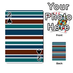 Teal Brown Stripes Playing Cards 54 Designs  by BrightVibesDesign