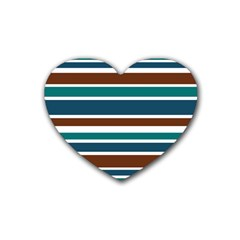 Teal Brown Stripes Heart Coaster (4 pack)  by BrightVibesDesign