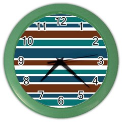 Teal Brown Stripes Color Wall Clocks by BrightVibesDesign