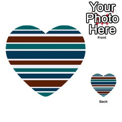 Teal Brown Stripes Multi Purpose Cards (heart)  by BrightVibesDesign