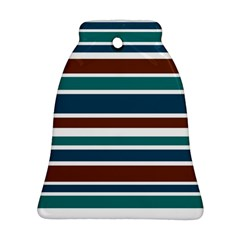 Teal Brown Stripes Bell Ornament (2 Sides) by BrightVibesDesign