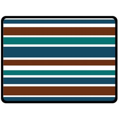 Teal Brown Stripes Double Sided Fleece Blanket (Large)  by BrightVibesDesign