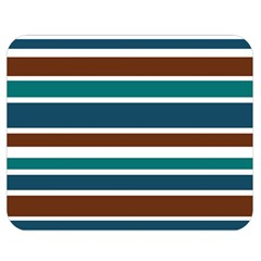 Teal Brown Stripes Double Sided Flano Blanket (medium)  by BrightVibesDesign