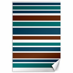 Teal Brown Stripes Canvas 12  X 18   by BrightVibesDesign
