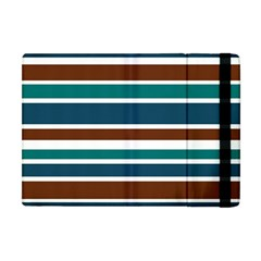 Teal Brown Stripes Apple Ipad Mini Flip Case by BrightVibesDesign