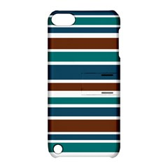 Teal Brown Stripes Apple Ipod Touch 5 Hardshell Case With Stand by BrightVibesDesign