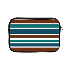 Teal Brown Stripes Apple Ipad Mini Zipper Cases by BrightVibesDesign