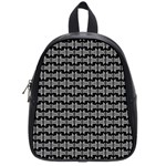 Black White Tiki Pattern School Bags (Small)  Front