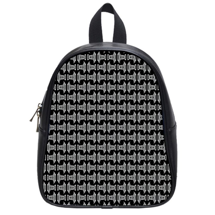 Black White Tiki Pattern School Bags (Small)