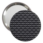 Black White Tiki Pattern 3  Handbag Mirrors Front