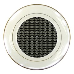 Black White Tiki Pattern Porcelain Plates by BrightVibesDesign