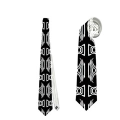 Black White Tiki Pattern Neckties (One Side)  by BrightVibesDesign