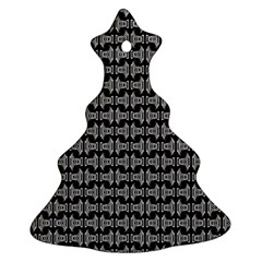 Black White Tiki Pattern Ornament (Christmas Tree) by BrightVibesDesign