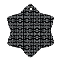 Black White Tiki Pattern Snowflake Ornament (2-Side) by BrightVibesDesign