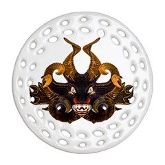 Demon Tribal Mask Round Filigree Ornament (2side) by dflcprints