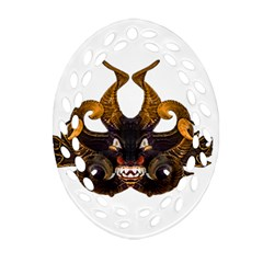 Demon Tribal Mask Ornament (oval Filigree)  by dflcprints