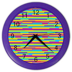 Colorful Stripes Background Color Wall Clocks by TastefulDesigns