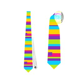 Colorful Stripes Background Neckties (two Side)  by TastefulDesigns