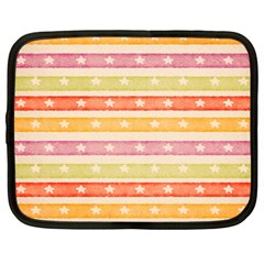 Watercolor Stripes Background With Stars Netbook Case (large)