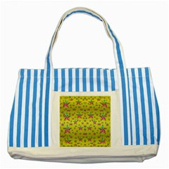 Flower Power Stars Striped Blue Tote Bag by pepitasart